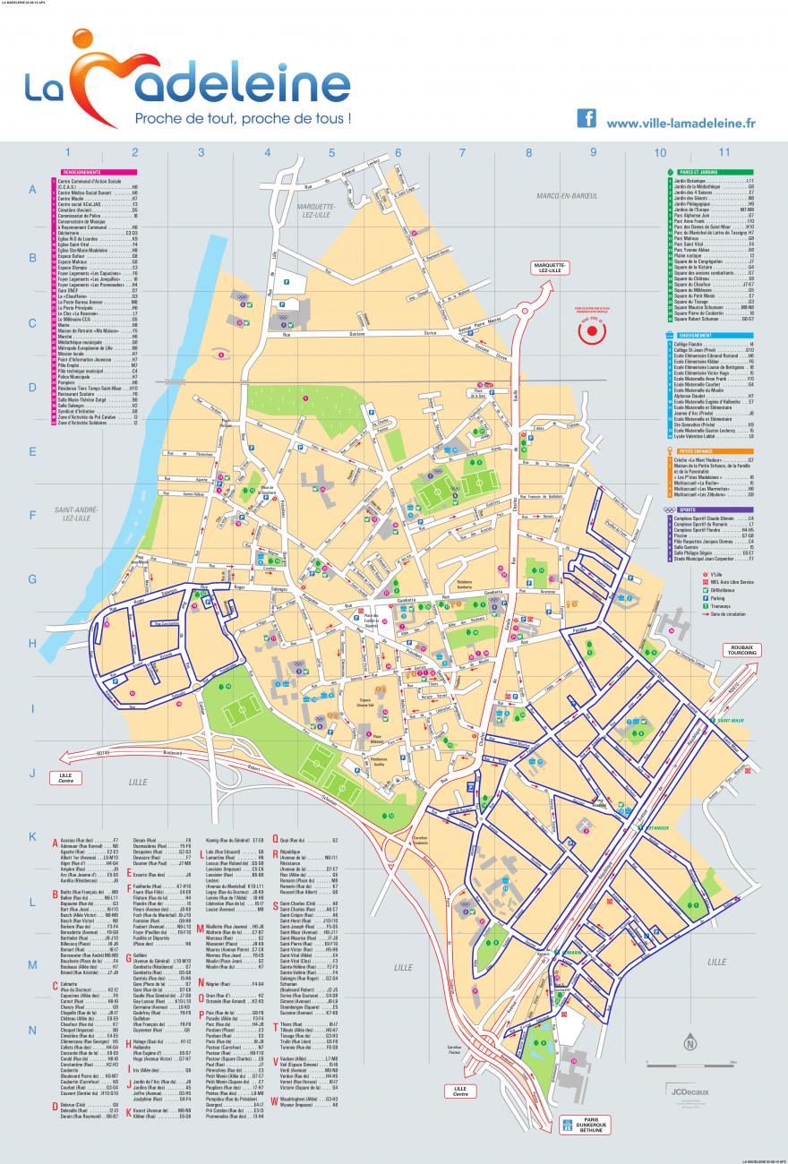 Plan des zones bleues de la Ville de La Madeleine